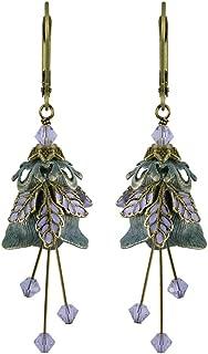 NoMonet Hand Painted Flower Fairy Earrings - Love Letter Earrings in Verdigris and Lavender