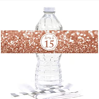 Andaz Press Glitzy Faux Rose Gold Glitter Water Bottle Sticker Labels, Cheers to 15 Years, Mis Quince Quinceanera 15th Birthday or Anniversary, 20-Pack