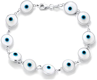 Protection Good Luck Turkish Evil Eye Glass Bead Bracelet for Women Teen 925 Sterling Silver Links More Colors 7 Inch