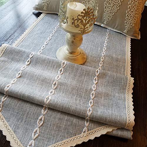Generic Einfache und Moderne Baumwolle und Leinen einfarbige Spitze Tischläufer, Tischfahne Tischdecke TV-Schrankabdeckung Stoff Beistelltisch Nachttischabdeckung Handtuch 40x180cm