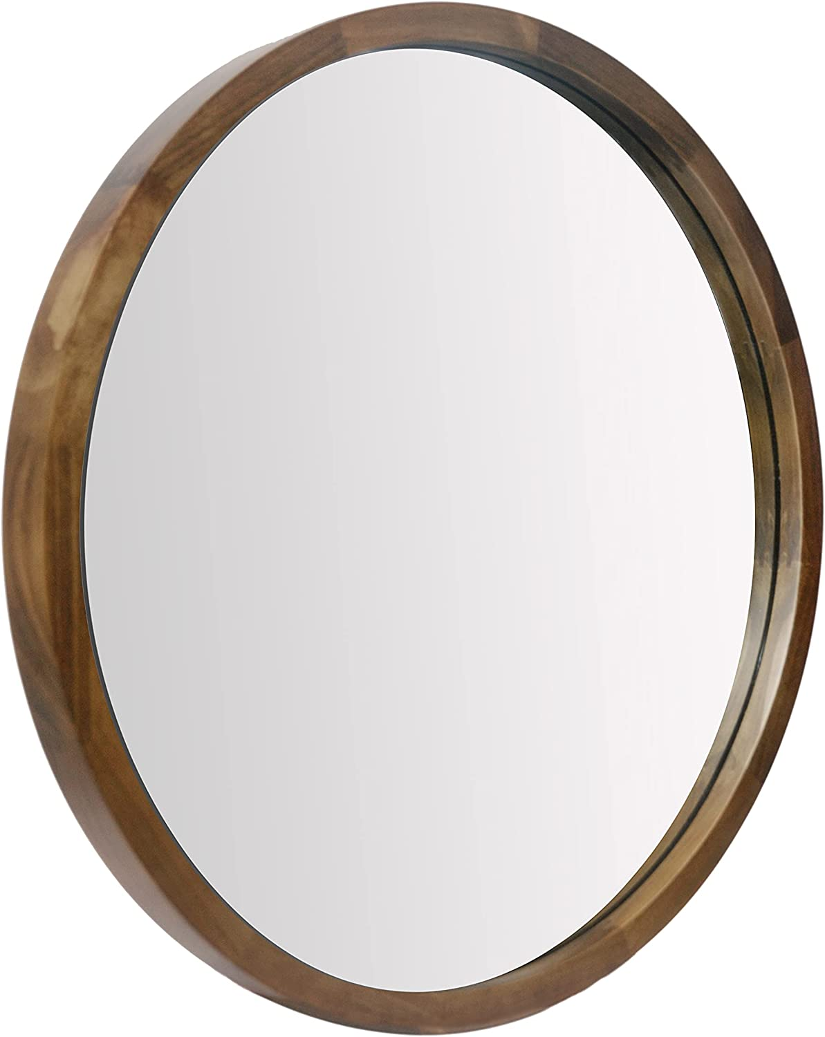 NULIPING 32 Inch Round Wall Mirror for Bathroom Large Circle Vanity Mirror for Wall Decor-Wooden Frame for Entryway Bedroom Living Room Brown
