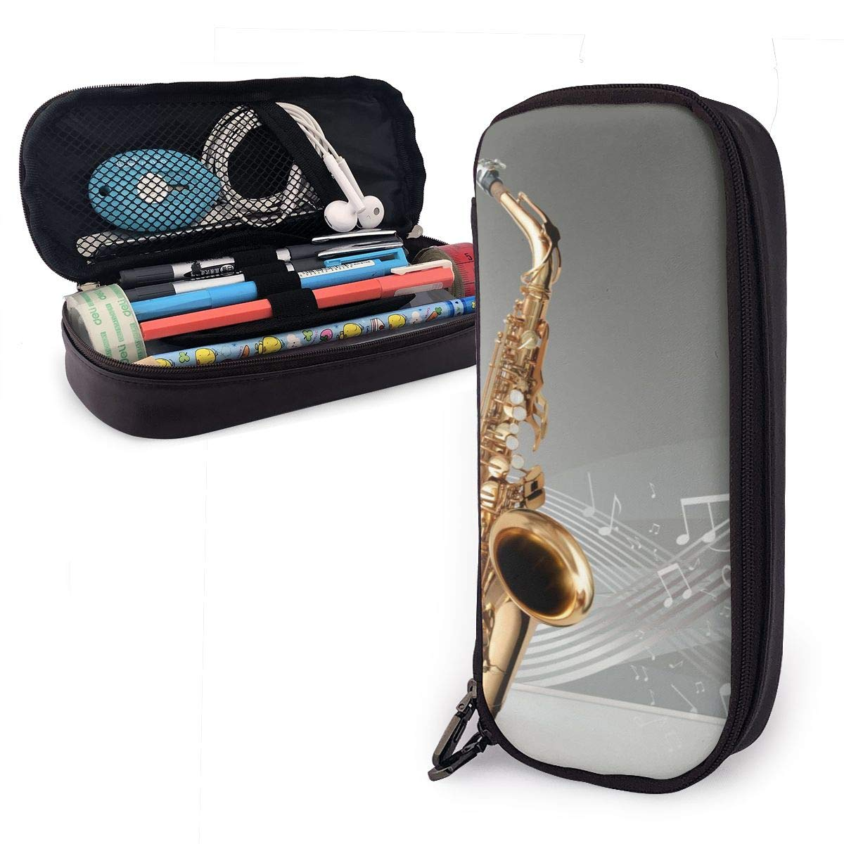 Saxofón notas musicales estuche para niños y niñas estuche de lápices grande para estudiantes, universidad, material escolar y oficina: Amazon.es: Oficina y papelería