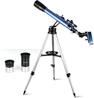 TELMU Telescope,60mm Aperture 700mm AZ Mount Astronomical Refractor Telescope for Kid and Adults- Portable Travel Telescope with Carry Bag, Any Phone Adapter