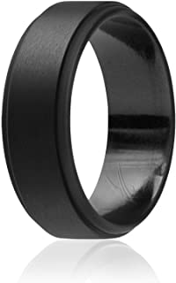 ROQ Silicone Wedding Ring for Men, 4 Packs & Singles Silicone Rubber Wedding Bands - Step Edge Sleek Design - Metallic, Bl...
