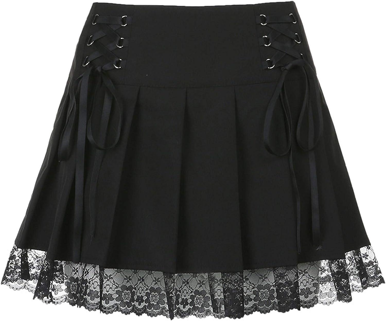 ZERNOBLEIEONE Women's Plaid Mini Skirts Gothic High Waist Skater Cosplay Lace Ruffle A-Line Skirt