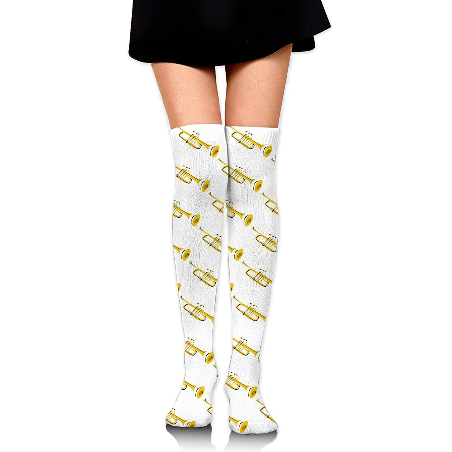 費用古いトマトMKLOS 通気性 圧縮ソックス Breathable Extra Long Cotton Mid Thigh High Golden Trumpet Exotic Psychedelic Print Compression High Tube Thigh Boot Stockings Knee High Women Girl