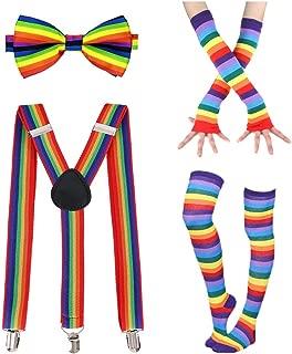 Rainbow Accessories Set Rainbow Long Gloves Socks Rainbow Bow Tie Rainbow Suspenders for 80s Parties Halloween