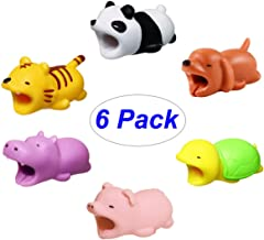 6pcs USB Cord Saver Charger Cable Protector Animal Bite Cute Panda Dog Tiger Pig Hippo Turtle for iPhone Data Cord Charging Cables