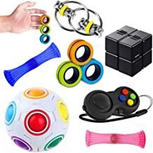 Sensory Fidget Toys Set 7 Pack. Stress Relief and Anti-Anxiety Tools Bundle with Fidget Pad, Flippy Chain, Infinity Cube, ...