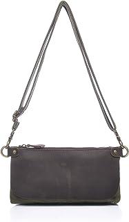 TONGDAUR Ladies Messenger Bag Leather Shoulder Hand Zipper Multi-functional Oil Bag Cross Section Canvas Bag Womens Casual Bag (Color : Bronze, Size : S)