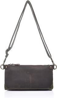 Shoulder Bag Ladies Messenger Bag Leather Shoulder Hand Zipper Multi-Functional Oil Bag Cross Section Canvas Bag Messenger Bag Casual Crossbody Bag (Color : Bronze, Size : S)