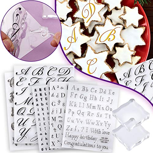 5 Pieces Alphabet Cake Stamp Tool Alphabet and Numbers Fondant Cake Mold Cake Cookie Stamp Mold Set with 2 Pieces Back Plate Reusable Transparent Letter, Easy to Clean
