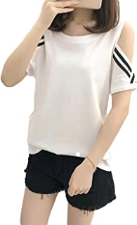 BeiBang(バイバン) レディース tシャツ 半袖 ショート 無地 クルーネック カットソー オフショルダー かわいい トップス 夏物