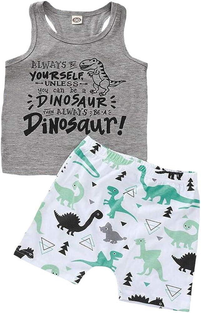 Amberetech Toddler Boys Summer Dinosaur Shorts Set Sleeveless Tank Top+Elastic Waist Shorts 2pcs Clothes Suit