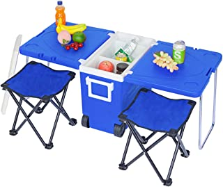 Multi Function Rolling Cooler Picnic Camping Outdoor w/Table & 2 Portable Foldable Chairs Stool with Carrying Bag (Blue)