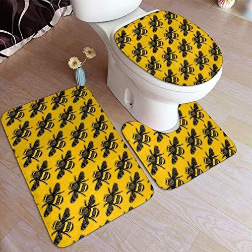 lucky-bonbon Bumblebee Mode Buzz stilvolles, rutschfestes WC-Vorleger-Set, WC-Deckelbezug, Matte, weich, bequem,...