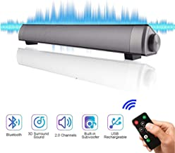Sound Bar for TV Soundbar, 2.0 Channel Wired & Wireless 3D Surround Bluetooth Home Theater Audio for Cell Phone/PC/Music/TV with AUX/RCA Output (Remote Control Included)