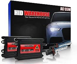 HID-Warehouse 55W AC Xenon HID Lights with Premium Slim AC Ballast - 9005 6000K - 6K Light Blue - 2 Year Warranty