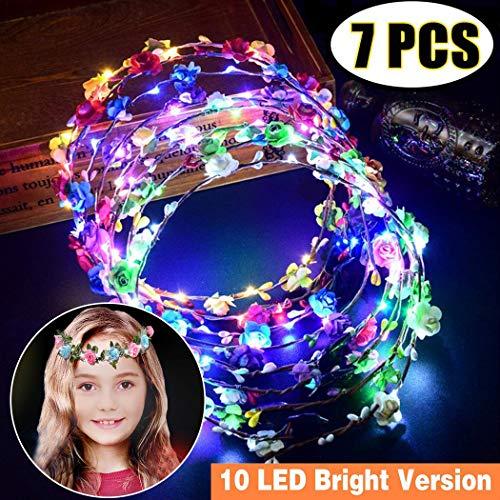 Outgeek LED Bandeau Fleur,7pcs Fleur Guirlande Bandeau Fleur Couronne Bandeau Femmes Filles Cheveux Accessoires Mariage fête de fête