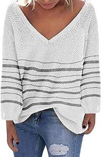 VJGOAL Jerséis para Mujer Otoño Invierno Moda Casual Raya Suéter con Cuello en V Manga Larga Suelta Camisetas de Punto Sud...