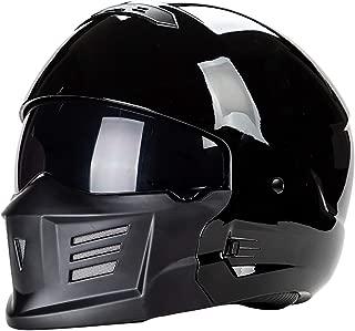 QHZ Harley Motorcycle Jet Helmet Detachable Chin Built-in Lens Modular DOT Certified Full Face Helmet 3/4 Open Face Pilot Boy Girl Cruiser Open Helmet,2,XL