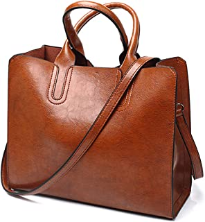 Women Top Handle Satchel Fashion Shoulder Oil Leather Handbags Bucket Bag Tote Purse for Ladies and Girl