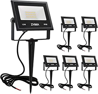 ZHMA 10W LED Landscape Lights Low Voltage 12V Waterproof Garden Flood Light Path Light for Yard, Lawn, Wall, Trees Lighting, Outdoor Spotlights Path Light with Spike Stand,Warm White (6 Pack)