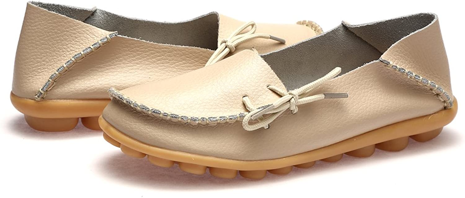 WQINSHOE Women's Leather Driving Loafer Slip On Flats Round Toe Casual shoes