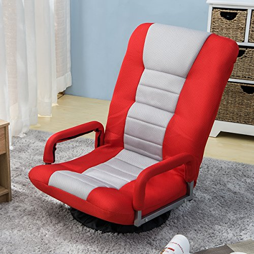 Floor Gaming Chair, Soft Floor Rocker 7-Position Swivel Chair Adjustable for Kids Teens Adults Playing Video Games, Reading, and Relaxing (Red)
