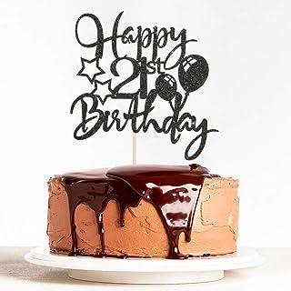 WeBenison Black Glitter Happy 21st Birthday Cake Topper for Cheers to 21 Years Wedding Anniversary Birthday Party Decorati...