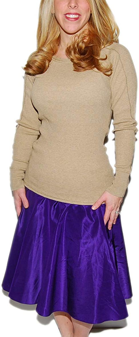 Ralph Lauren Polo Womens Metallic Satin Pleated Skirt Solid Purple Plum Violet 6