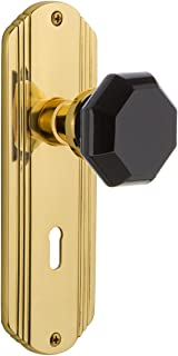 Nostalgic Warehouse 725445 Deco Plate with Keyhole Privacy Waldorf Black Door Knob in Unlaquered Brass, 2.375