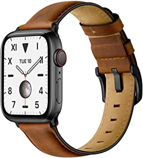 Mifa Compatible with Apple Watch Band 44mm 42mm Series 5 4 3 Modern Classic Leather Vintage Dressy Bands Dark Brown Replacement Straps Sweatproof iwatch Nike Space Black Grey Men 44 42 Brown