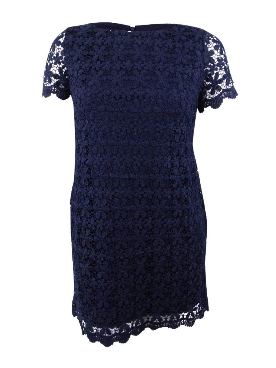 Available at Amazon: Jessica Howard Women's Petite Lace Sheath Dress (6P Navy)