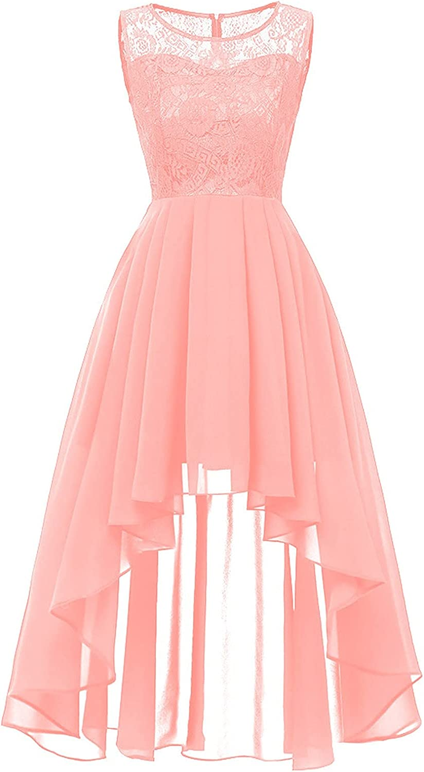 Vintage Floral Lace Cocktail Dress for Women Sleeveless Hi-Lo A Line Wedding Guest Party Bridesmaid Formal Swing Dress