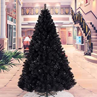 Eleganteasygoing Flocked Christmas Tree 7Ft Large Colorado Pine Look Artificial Christmas Tree Tips with Metal Stand Beautiful Xmas Tree Green & Black (Green)-6Ft