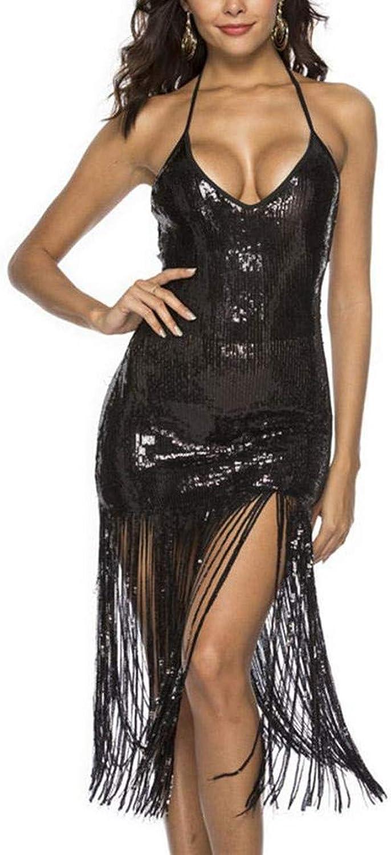 Yksth Women Casual V Neck Sleeveless Sequins Tassel Slim Mini Dress Dresses