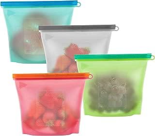 Bolsas de Silicona Reutilizables para Almacenamiento de Alimentos,WolinTek 4 Piezas Alimentos Bolsa de Almacenamiento,100% a Prueba de Fugas y Libre de BPA