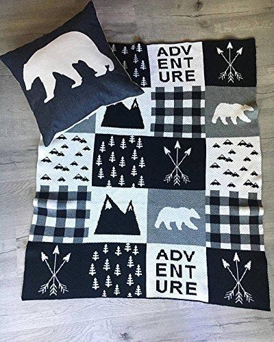 100% cotton knitted Geometric bear unisex neutral Scandinavian adult baby crib blanket Gray kids nursery baby newborn arrows stroller throw White and Black Monochrome sham cottage