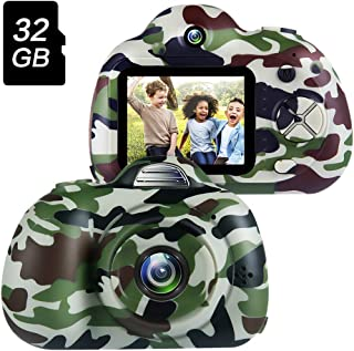 OMWay Kids Camera for Boys,4 5 6 7 Year Old Boy Gifts,Toys for 6 7 Year Old Boys,Best Gifts for Toddlers Camping,Kids Digital Video Camcorders,Camo(32GB SD Card Included).