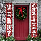 O-Heart Merry Christmas Banner, Buffalo Plaid Christmas Porch Sign Hanging Xmas Decorations Indoor Outdoor for Home Wall Front Door Apartment Party