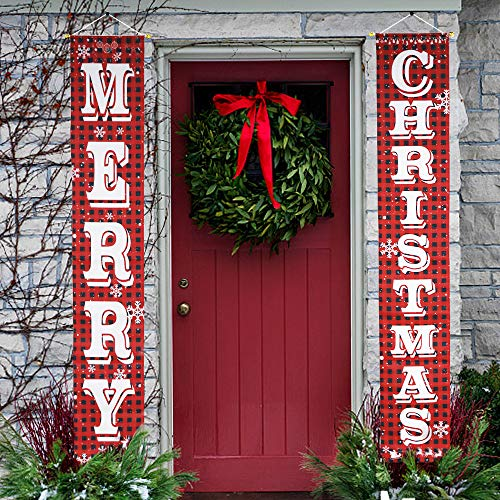 O-Heart Merry Christmas Banner, Buffalo Plaid Christmas Porch Sign Hanging Xmas Decoration,Indoor Outdoor for Home Wall Front Door Apartment Party