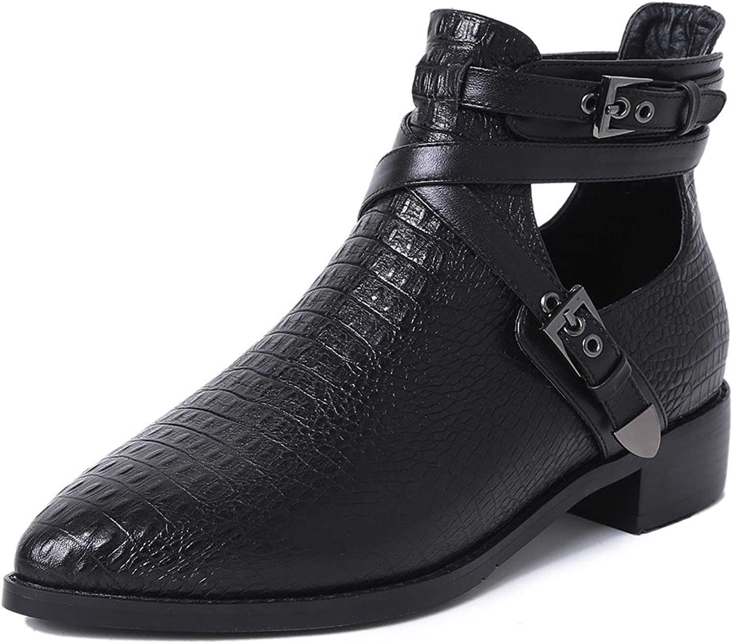 A-BUYBEA Women's Pointed Toe Tuscany Croc Embossed Leather Buckle Strap Ankle Boots