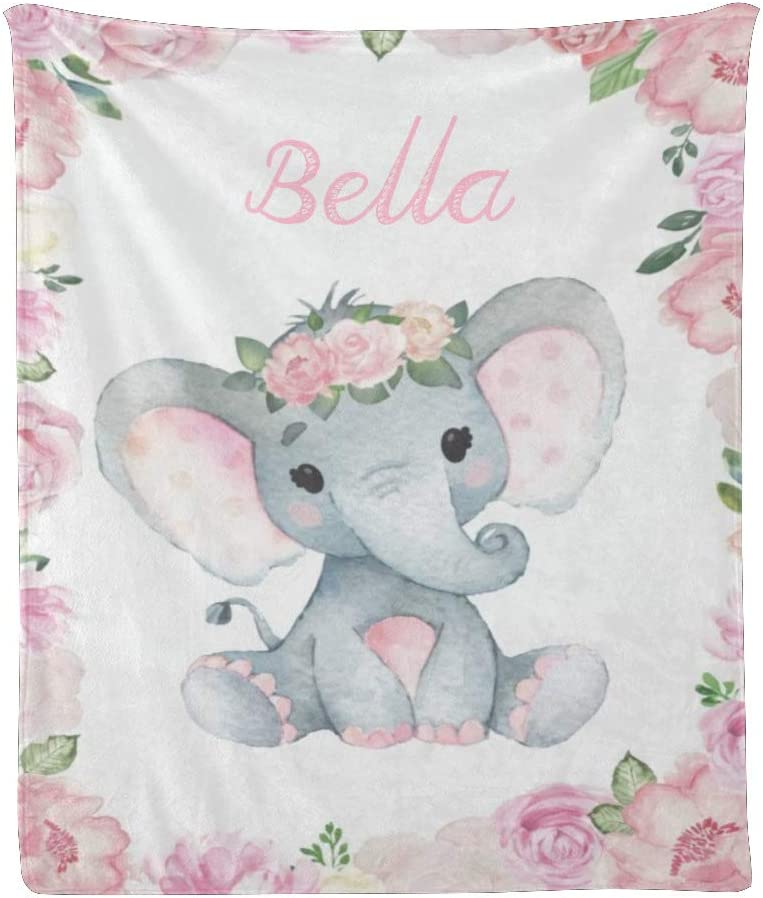 CUXWEOT Custom Blanket with Name E ☆送料無料☆ 当日発送可能 Personalized Floral Pink 全商品オープニング価格 Text