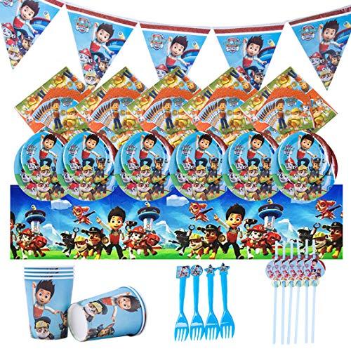 Accesorio de Decoración de Fiesta de Cumpleaño HANEL-36pcs Paw Patrol Vajilla Contiene Platos Tazas Manteles Servilletas Tenedores banderín para Niños Niñas Decoración de Fiesta de Cumpleaños