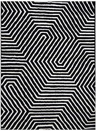 Tapete Retangular Doha Niazitex Geométrico 2,40mx3,40m Preto