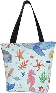 Meiya-Design Personalisierte Segeltuch-Tragetasche, skurriles Meeresthema, türkis, waschbare Handtasche, Umhängetasche, Einkaufstasche für Frauen