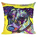 Beautiful Pet Dog Jack Russell Terrier Pillow Covers Colorful Animals Decorative Pillowcases for Home Sofa Bed Custom Canvas Throw Pillow Cases Good Gift for Dog Lovers by CafeTime 18'x18'Inch