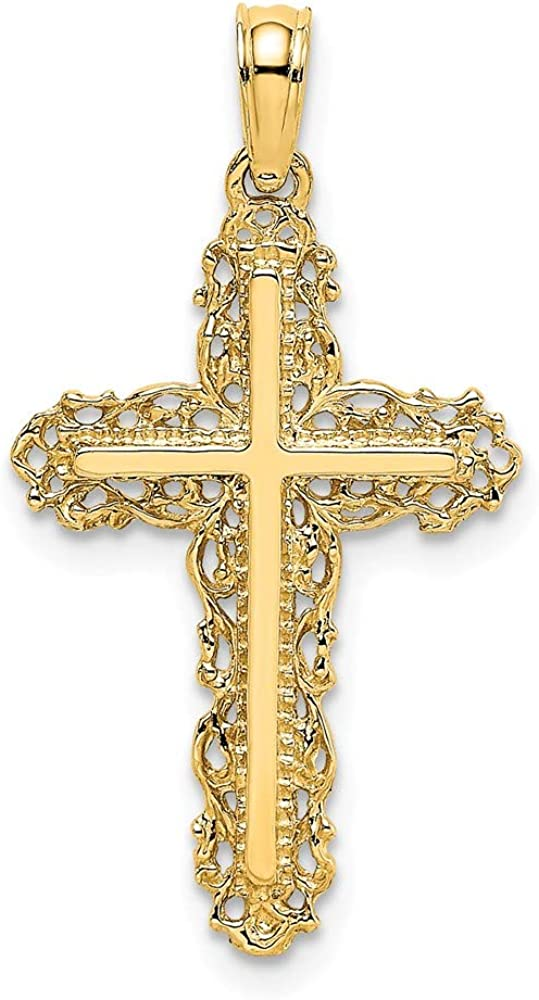 FB Jewels 14K Yellow Gold Cross Trim Max 63% OFF High order Filigree Pendant with Lace