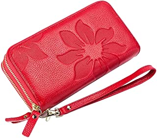 Amazon Prime Deals Sale-Women's Kapok Flower Double Zipper Wallet-Welegant Leather Organizer Clutch Wristlet Card Case Passport Holder Pouch Handbag Long Money Clip Wallet Purse for Travel